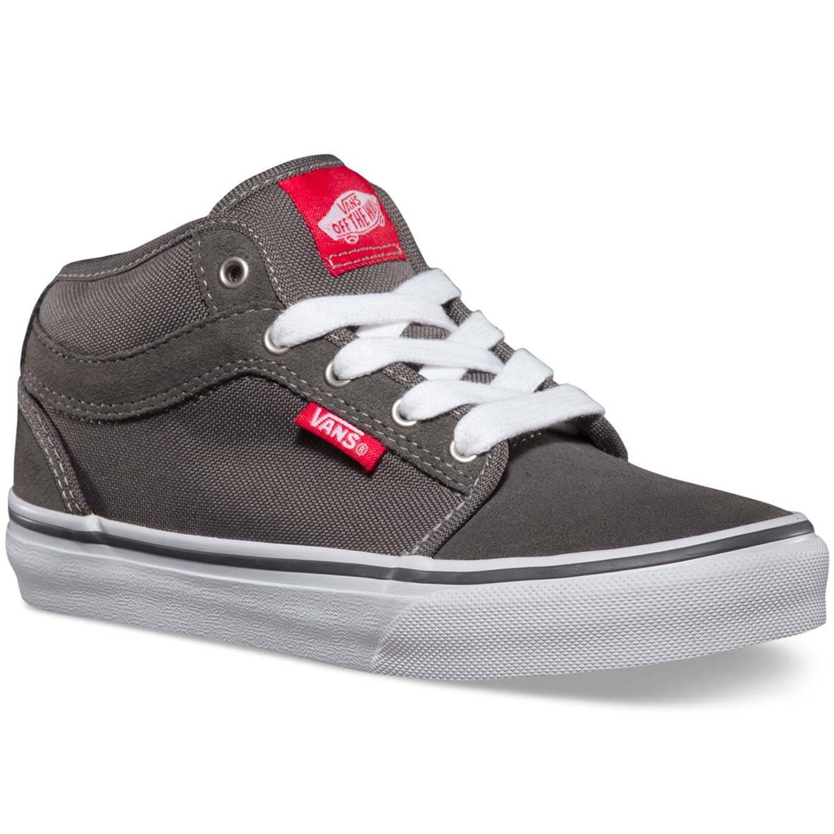 Vans Chukka Mid Youth Shoes - Pewter/Neon Red - 7.0