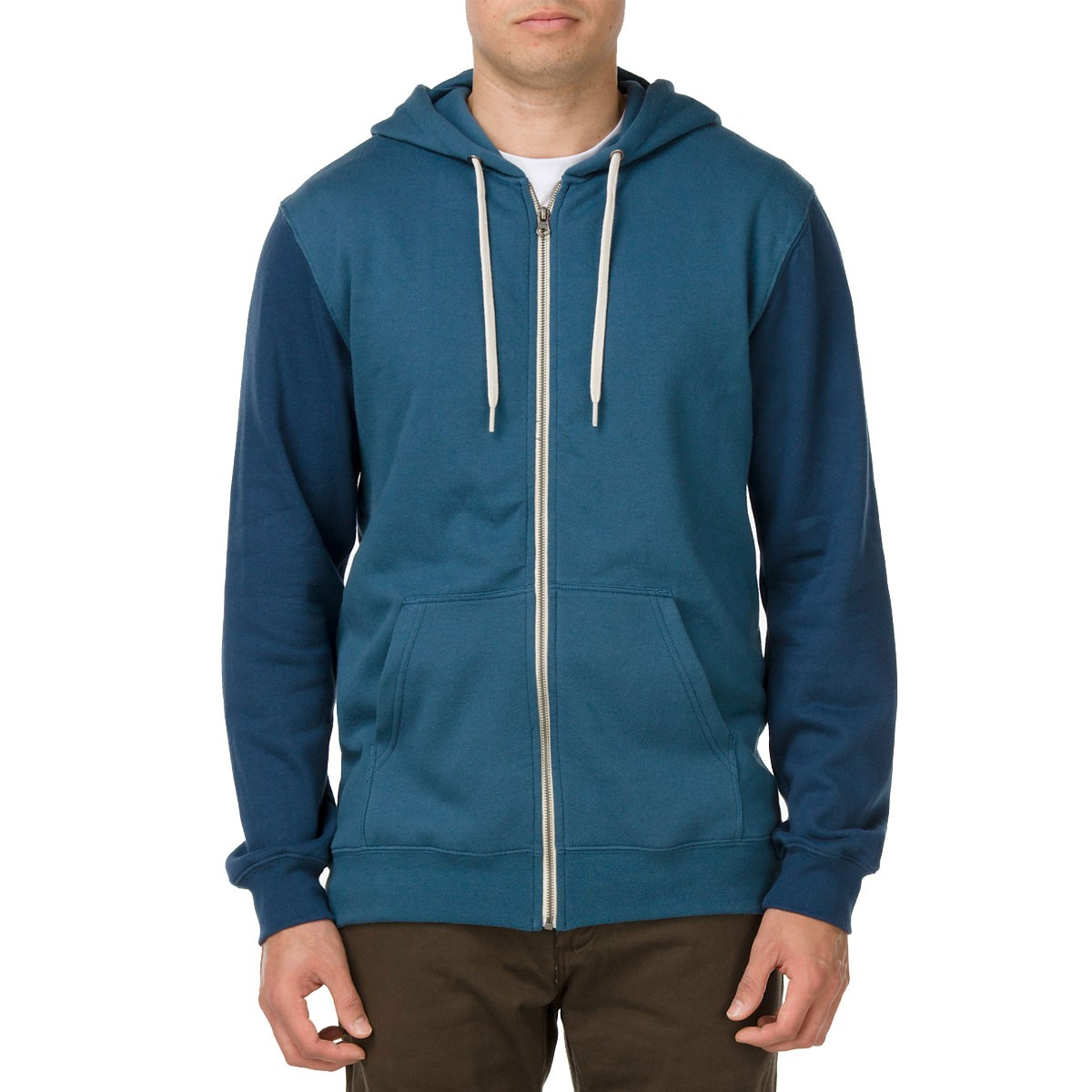 Vans Core Basics Colorblock Zip Hoodie - Indian Teal/Ice Water