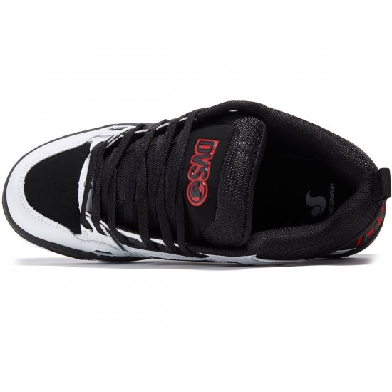 DVS Comanche Shoes - Black/White/Red Leather - 8.0