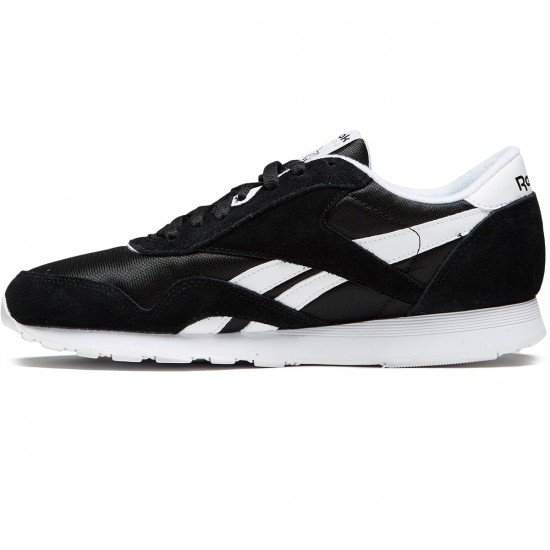 Reebok CL Nylon Shoes - Black/White - 10.0