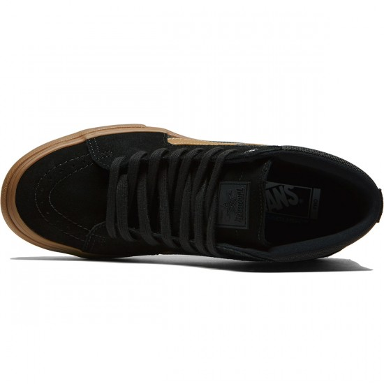 Vans X Thrasher Sk8 Hi Pro Shoes - Thrasher Black/Gum - 6.5