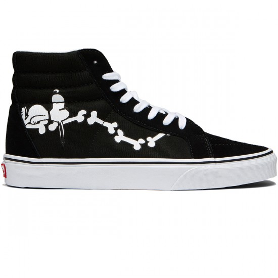 Vans X Peanuts Sk8 Hi Reissue Shoes - Snoopy Bones/Black - 8.0