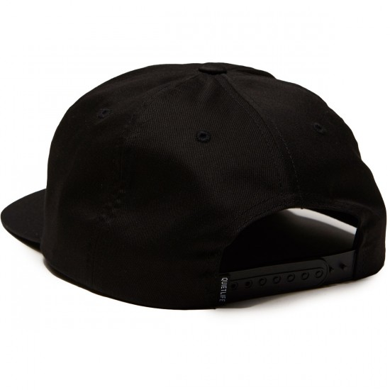 Quiet Life Yawn Script Lowrise Unstructured Snapback Hat - Black