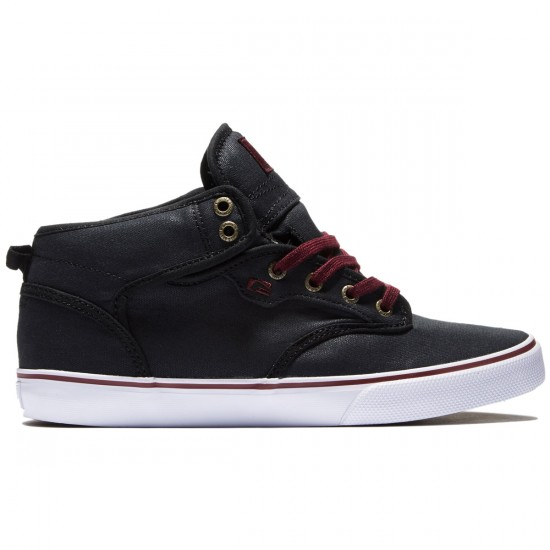 Globe Motley Mid Shoes - Black/Burgundy - 8.0