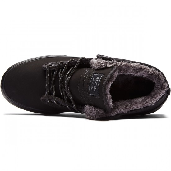 Globe Motley Mid Shoes - Black/Black Fur - 8.0