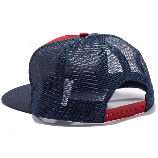 Independent Weathered Cross Trucker Hat - Cardinal/Navy