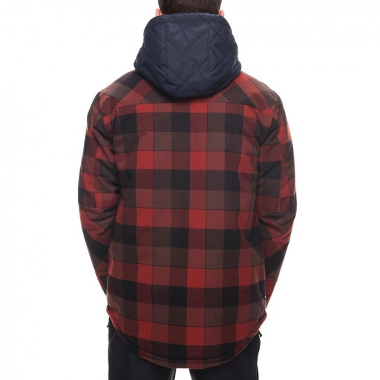 686 Woodland Insulated Snowboard Jacket - Rusty Red/Plaid