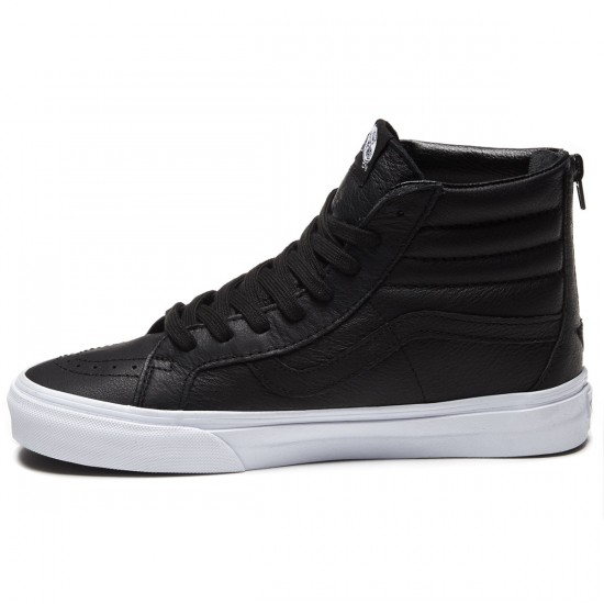 Vans Sk8-Hi Reissue Zip Shoes - Premium Leather/Black/White - 8.0