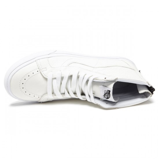 Vans Sk8-Hi Reissue Zip Shoes - Premium Leather/White/Black - 8.0