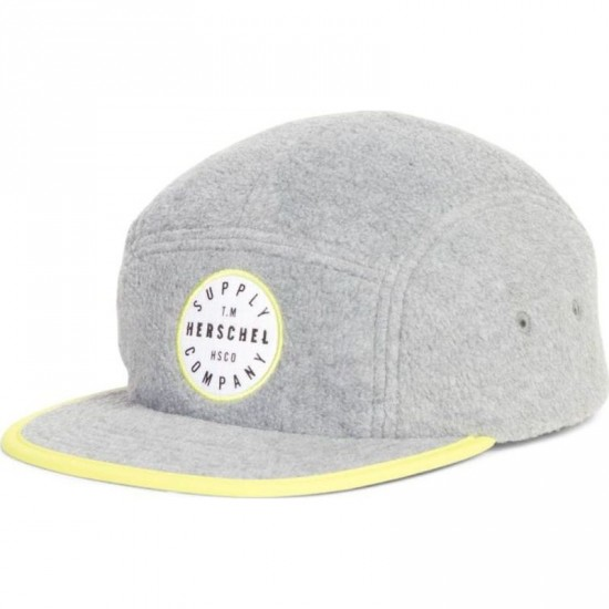 Herschel Supply Glendale Polar Fleece Hat - Grey/Cyber Yellow
