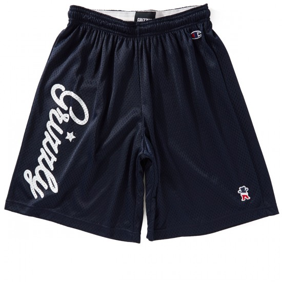 Grizzly X Champion Behind The Arc Mesh Shorts - Navy