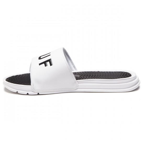 HUF Slide Shoes - White/Black - 8.0