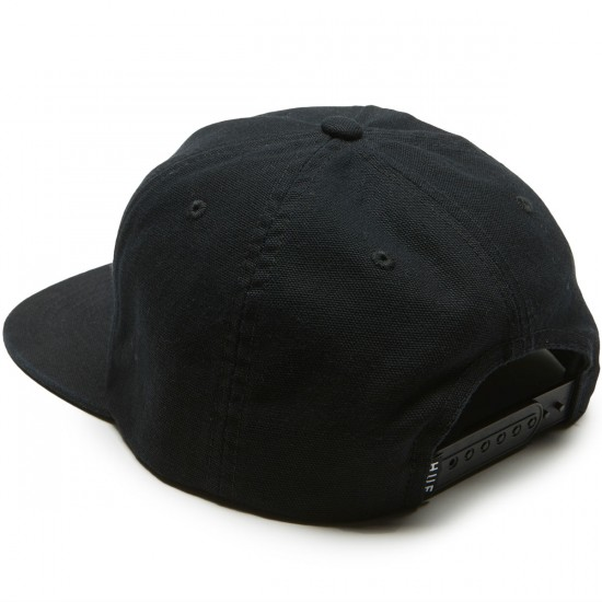 Huf Wash Canvas Box Logo Snapback Hat - Black