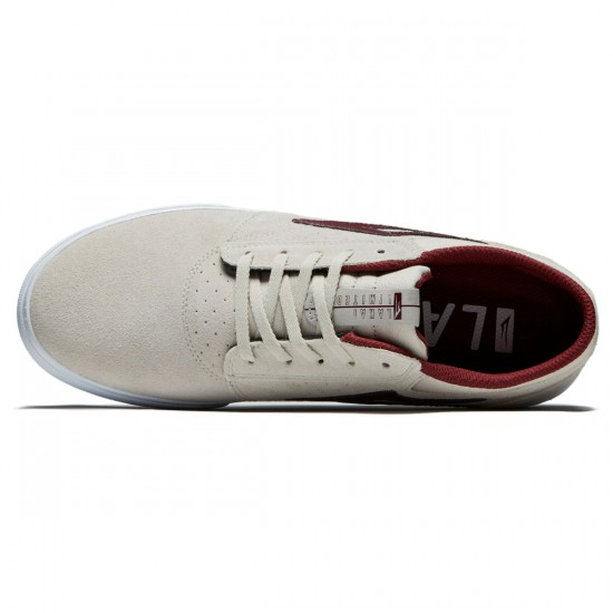 Lakai Griffin Shoes - White/Burgundy Suede