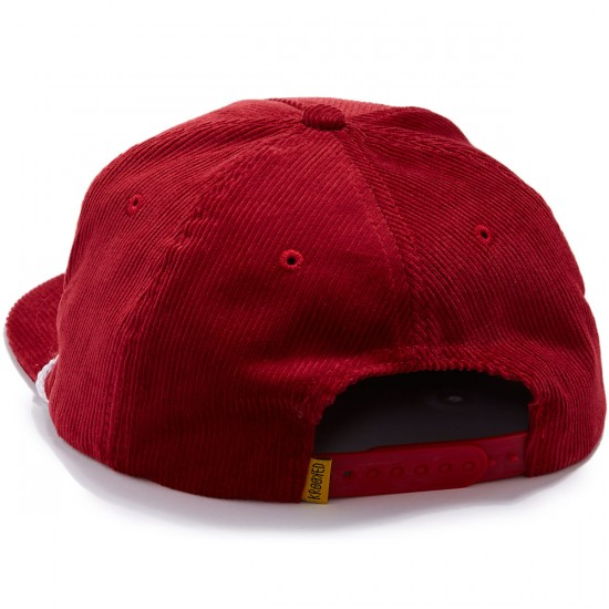 Krooked Kursive Embroidered Snapback Hat - Burgundy