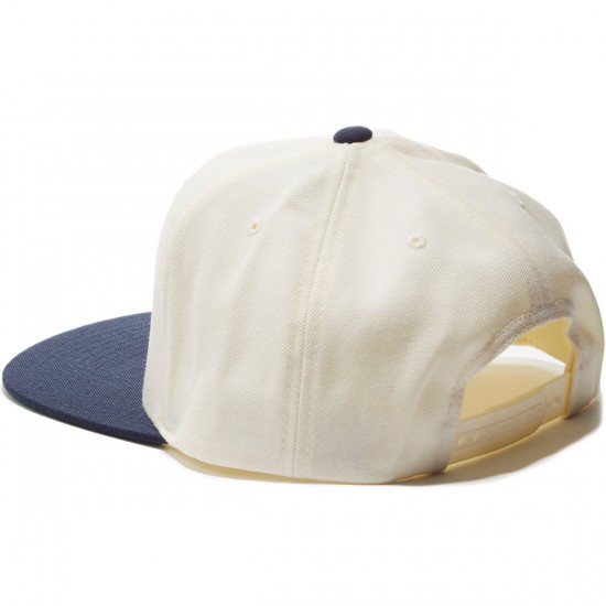 Brixton Rival Snapback Hat - Off White/Navy