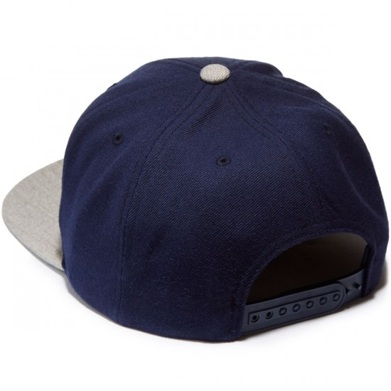 Brixton Oath III Snapback Hat - Navy/Light Heather Grey
