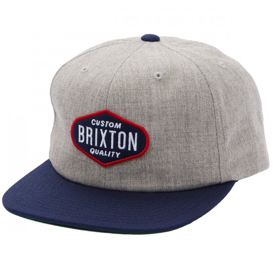 Brixton Oakland Snapback Hat - Light Heather Grey/Navy