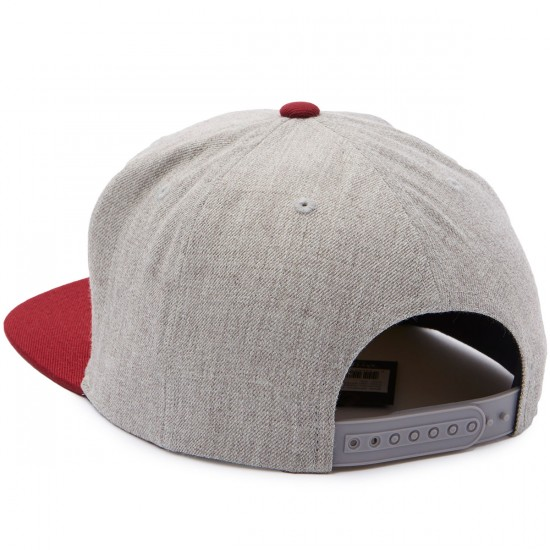 Brixton Newell Snapback Hat - Light Heather Grey/Burgundy