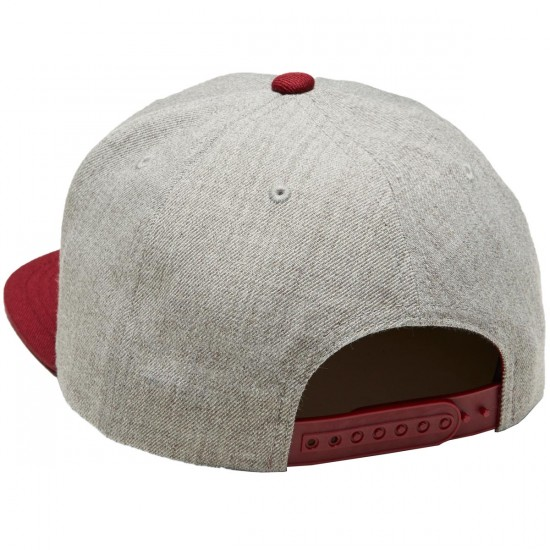 Brixton Oath III Snapback Hat - Light Heather Grey/Burgundy/White