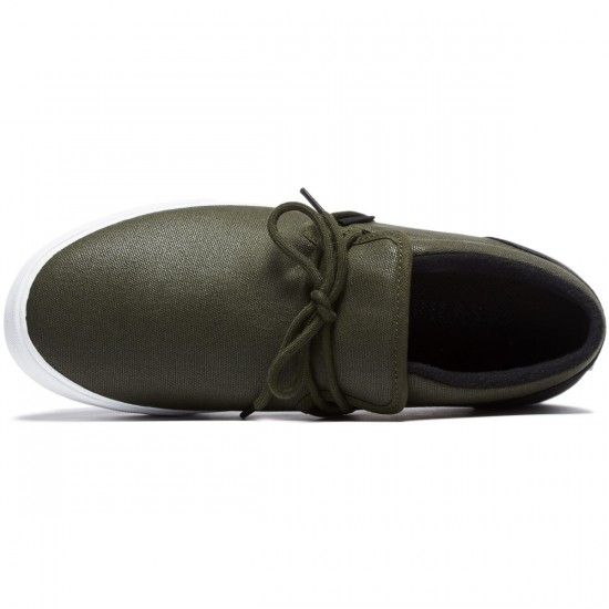 Supra Cuba Shoes - Dark Olive/Black Waxed Canvas/White - 8.0