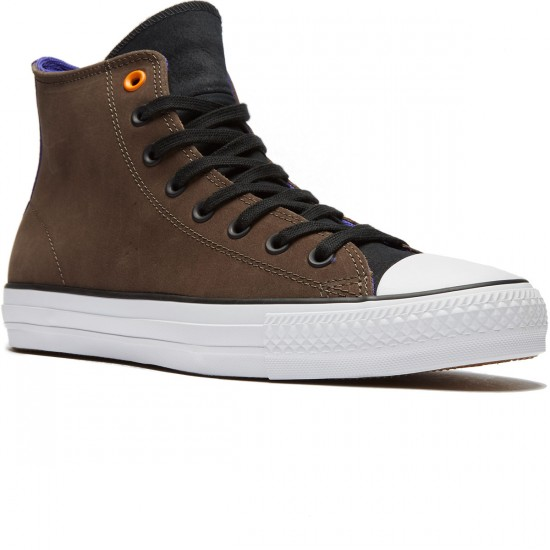 Converse CTAS Pro Leather Shoes - Dark Chocolate/Black/Candy Grape - 8.0
