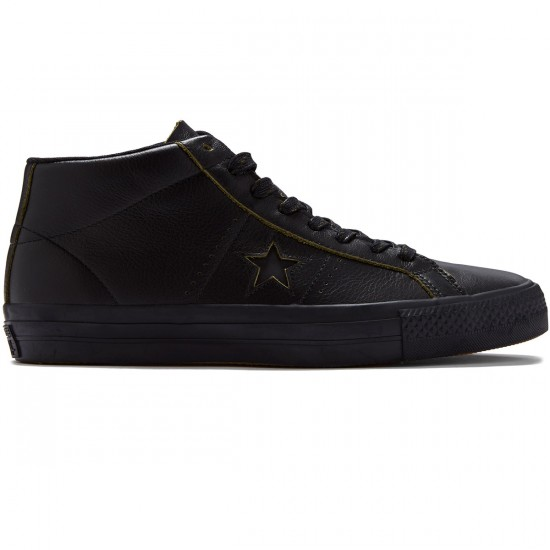 Converse One Star Pro Mid Shoes - Black/Black/Black - 8.0