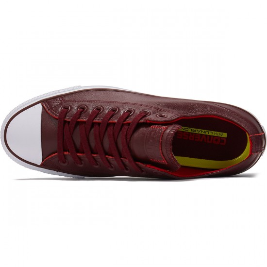 Converse CTAS Pro OX Scratch Leather Shoes - Deep Bordeaux/Casino/White - 8.0