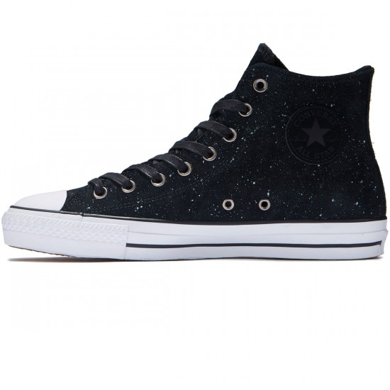 Converse CTAS Pro HI Pepper Suede Shoes - Black/White/Black - 8.0