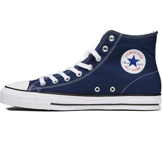 Converse CTAS Pro Hi Shoes - Midnight Navy/White Canvas - 7.0