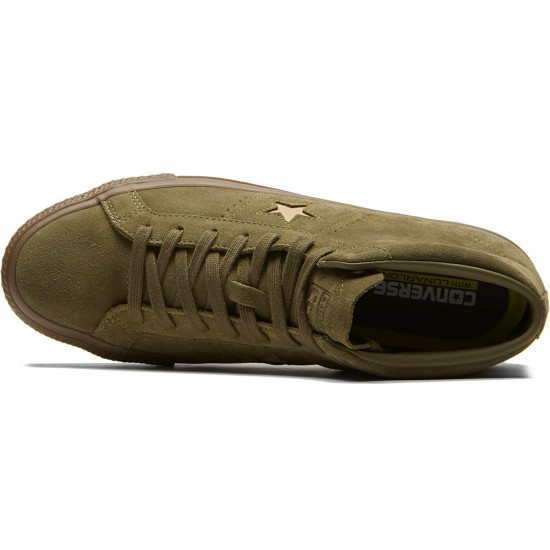 Converse One Star Pro Mid Shoes - Medium Olive/Light Fawn Suede - 8.0