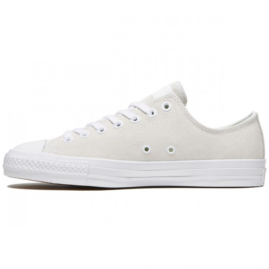 Converse CTAS Pro Shoes - White/White/Teal Plush Suede - 7.0