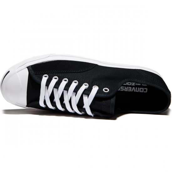 Converse Jack Purcell Pro Ox Shoes - Black/Black/White Canvas - 7.0