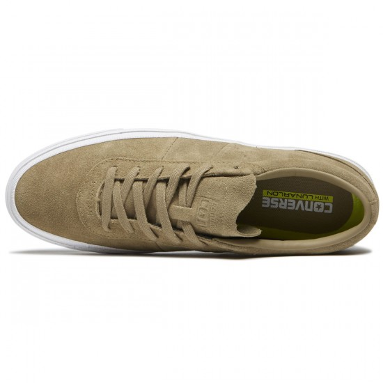 Converse One Star CC Low Shoes - Khaki/Khaki/White Suede - 8.0