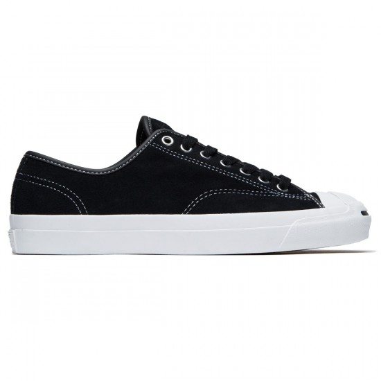 Converse Jack Purcell Pro Ox Shoes - Black/Black/White Suede - 7.0