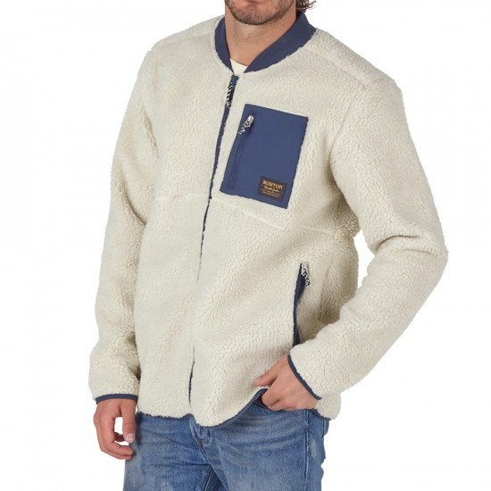 Burton Grove Full Zip Fleece Snowboard Jacket - Bone White