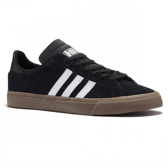 Adidas Campus Vulc II Shoes - Black/White/Gum - 8.0