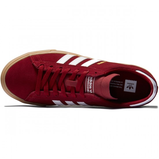 Adidas Campus Vulc II Shoes - Collegiate Burgundy/White/Gum - 8.0