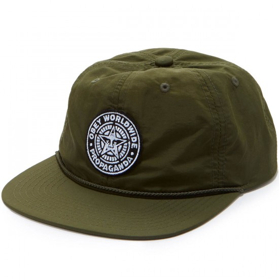 Obey Seal 6 Panel Hat - Army