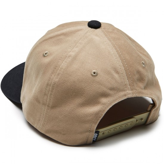Obey 90s Jumble 6 Panel Snapback Hat - Khaki / Black