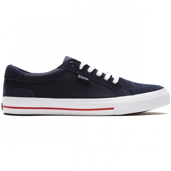 State Hudson Shoes - Navy/White Red Suede - 8.0