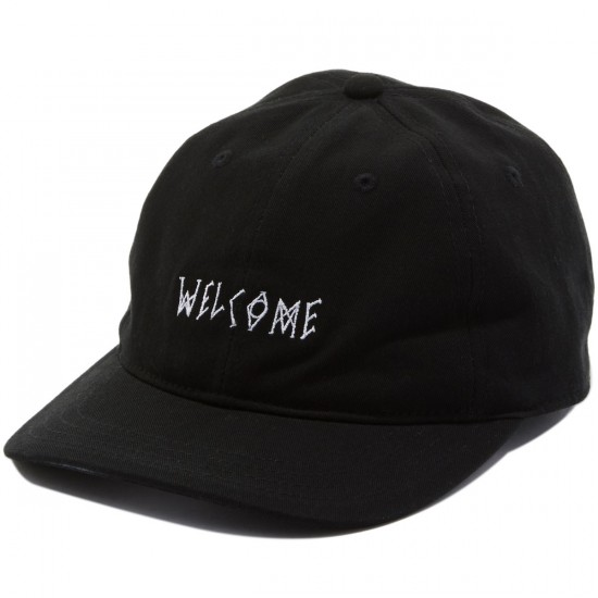 Welcome Scrawl Unstructured 6-Panel Slider Hat - Black