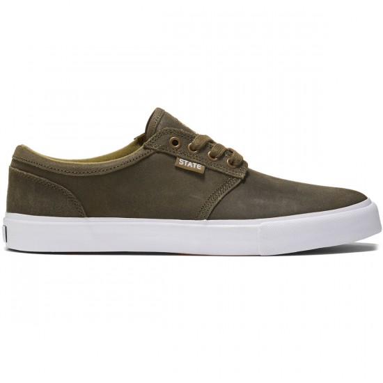 State Elgin Shoes - Dark Olive/White Wax Suede - 8.0
