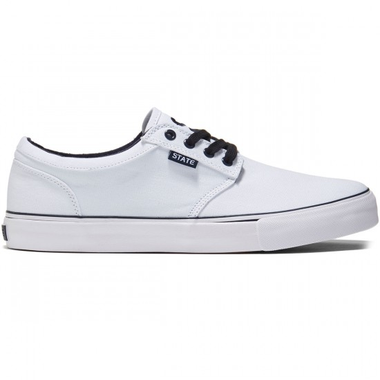 State Elgin Shoes - White/Navy Canvas - 8.0