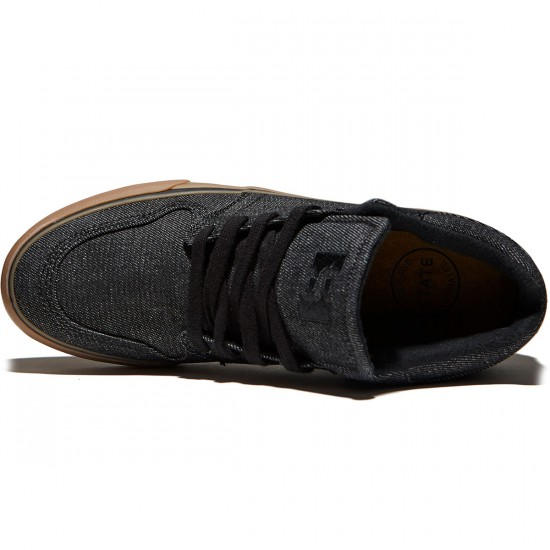 State Mercer Shoes - Black/Gum Denim - 8.0