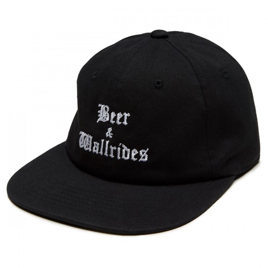 Beer And Wallrides 6 Panel Logo Hat - Black