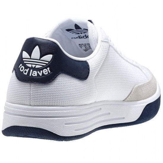Adidas Rod Laver Shoes - White/White/Navy - 6.0