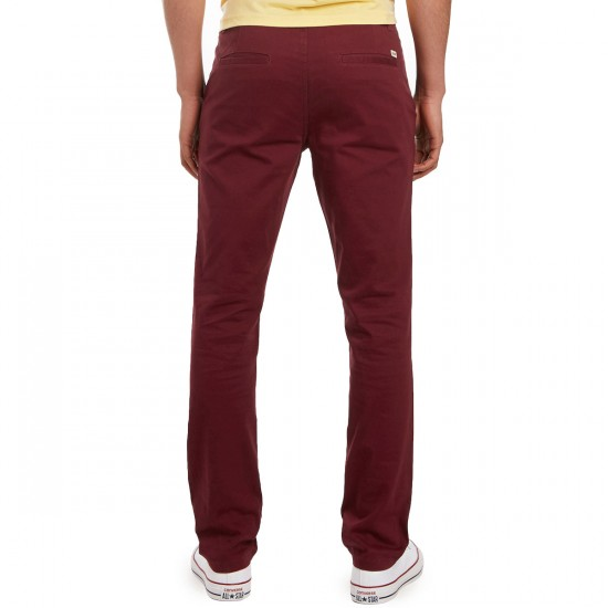CCS Clipper Slim Fit Chino Pants - Burgundy - 28 - 32