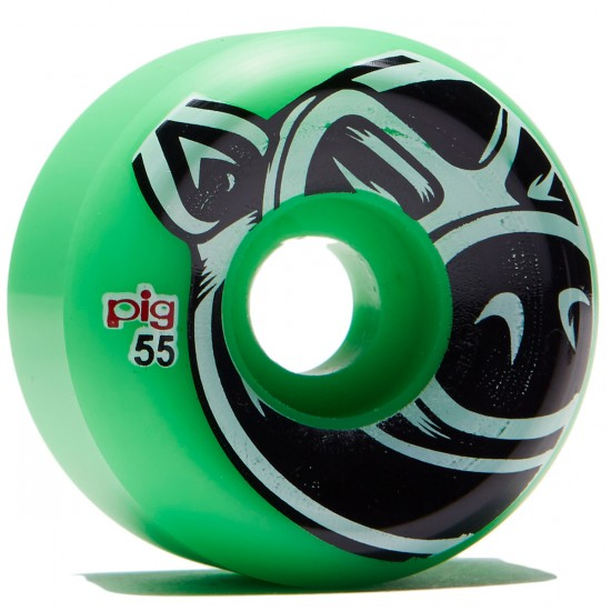 Pig Head Conical Skateboard Wheels - Green - 55mm