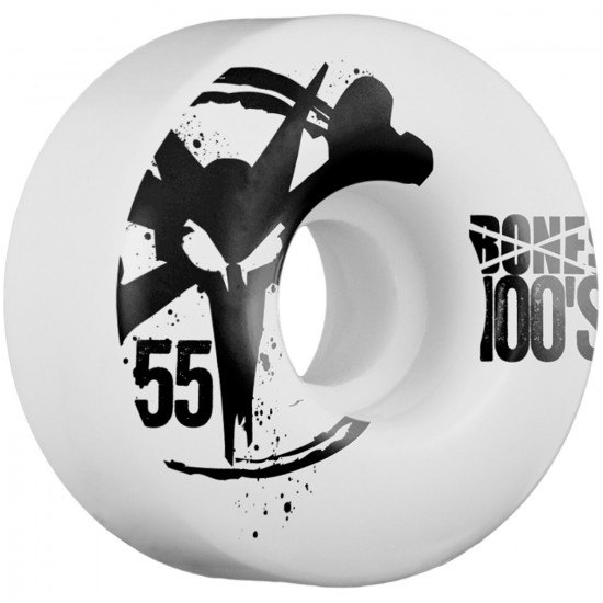 Bones 100s Skateboard Wheels 55mm 100a - White